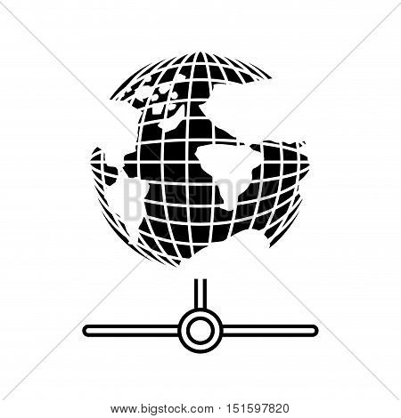 silhouette earth world map with continents vector illustration
