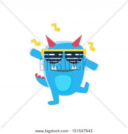 Blue Monster With Horns And Spiky Tail Dancing In Club. Silly Childish Drawing Isolated On White Background. Funny Fantastic Animal Colorful Vector Sticker.