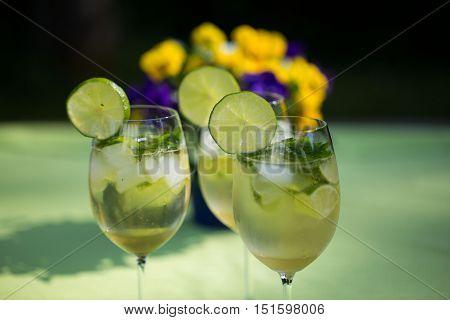 Hugo Cocktails, on a garden table in summer