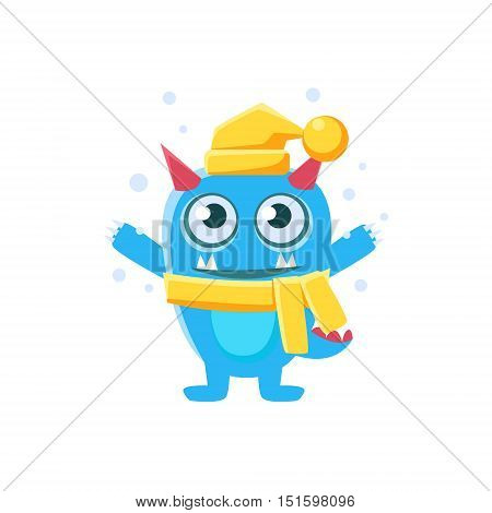 Blue Monster With Horns And Spiky Tail Wearing Hat And Scarf. Silly Childish Drawing Isolated On White Background. Funny Fantastic Animal Colorful Vector Sticker.