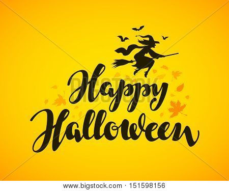 Happy Halloween banner. Hand drawn lettering. Vector illustration