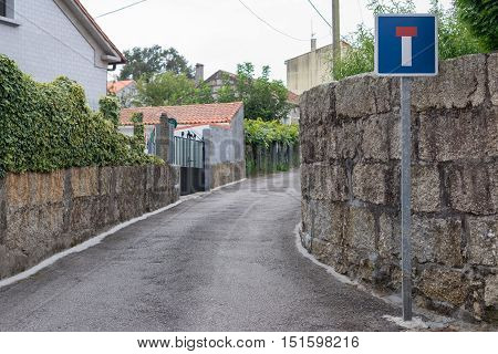 image of road sign on a dead end on the street