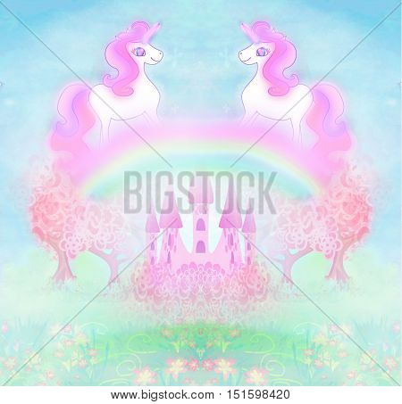 Card with a cute unicorns rainbow and fairy-tale princess castle , raster
