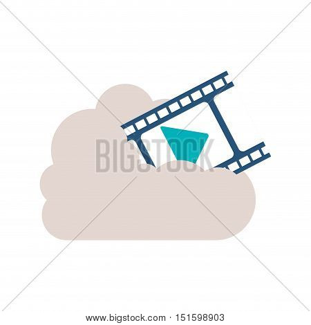 filmstrip with play buttom into the cloud vector illustration