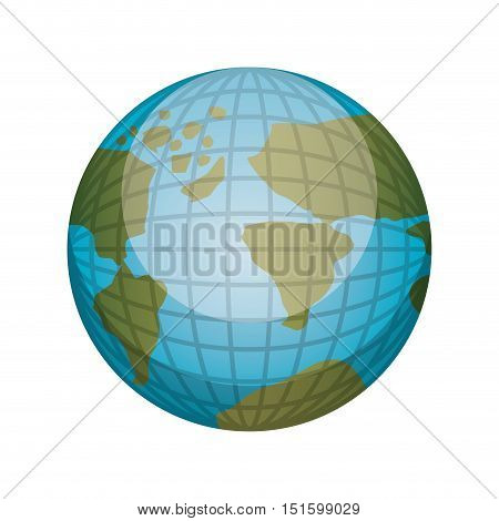 earth world map with continents in 3d vector illustration