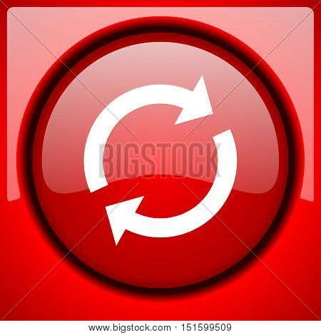 reload red icon plastic glossy button