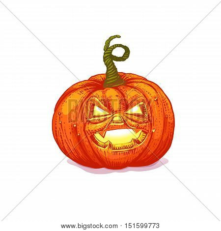 Scary Jack O Lantern halloween pumpkin with light inside. Vector character  Cartoon.