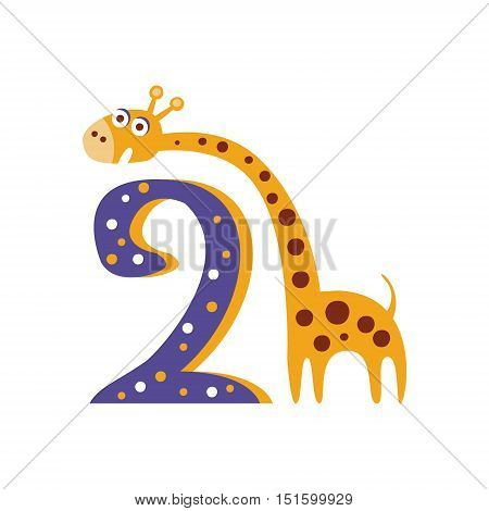 Giraffe Standing Next To Number Two Stylized Funky Animal. Weird Colorful Flat Vector Illustration For Kids On White Background,