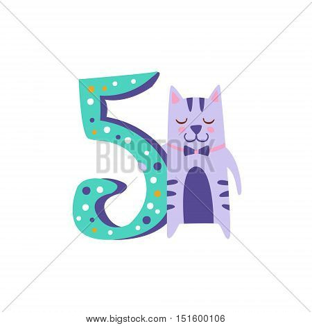 Cat Standing Next To Number Five Stylized Funky Animal. Weird Colorful Flat Vector Illustration For Kids On White Background,