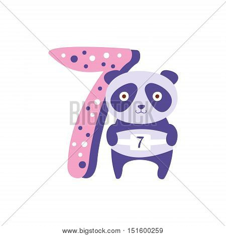 Panda Standing Next To Number Seven Stylized Funky Animal. Weird Colorful Flat Vector Illustration For Kids On White Background,