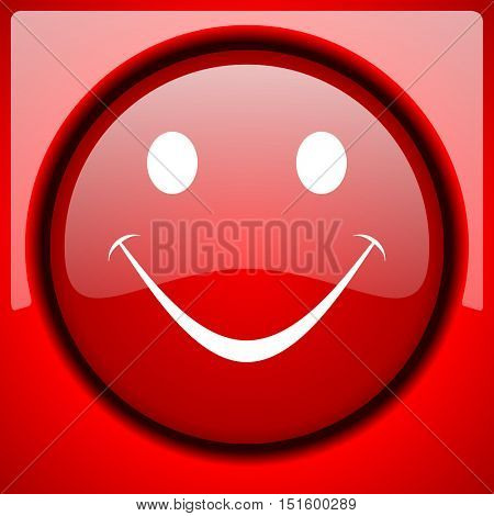smile red icon plastic glossy button
