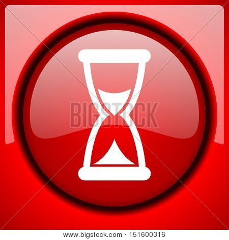 time red icon plastic glossy button