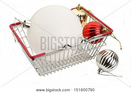 Christmas Decorations In The Food Basket