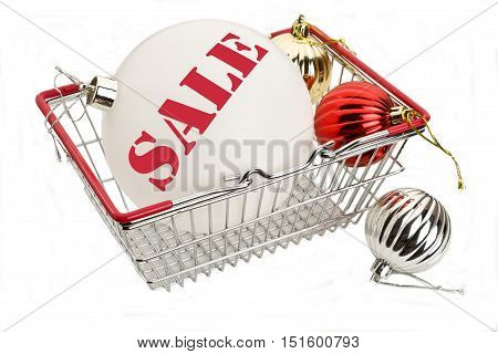 Word Sale on white New Years ball in the food basket