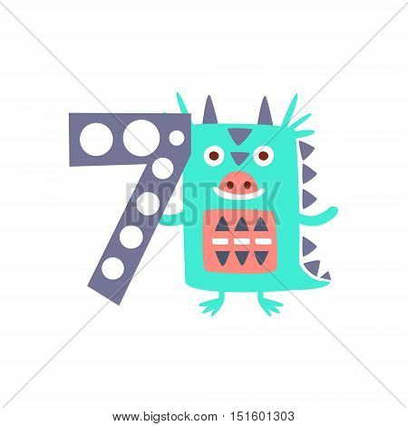 Dragon Standing Next To Number Seven Stylized Funky Animal. Weird Colorful Flat Vector Illustration For Kids On White Background,