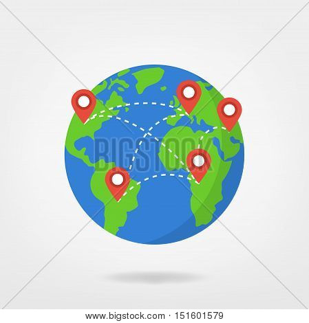 pin points on world map / travel concept illustration. location marker on globe, vector graphic.