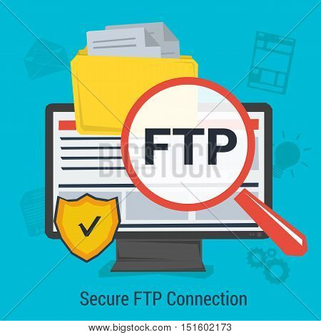 Vector concept secure FTP connection for data protection and safe work in internet. Magnifier, antivirus shield and file folder on computer monitor. Square web banner in flat style