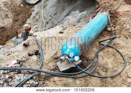 Gas Cylinder Welding Machine. Autogen. Repair Of Heating Duct.