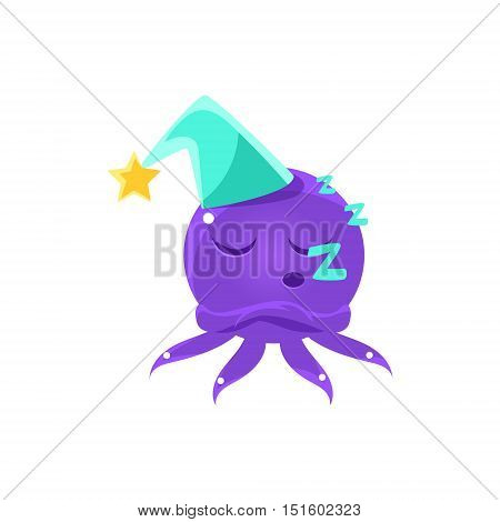 Funny Octopus Sleeping Emoji. Cute Vector Emoticon In Cartoon Childish Style Isolated On White Background.