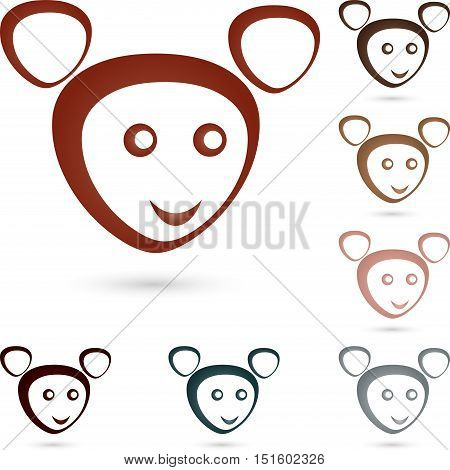 Logo, animal, mouse with smile, face, mascot, colored