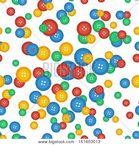 Vector seamless pattern with different size of scattered colored buttons on white. Background for tailors and sewing