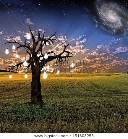 Idea tree landscape  Some elements provided courtesy of NASA 3D Render