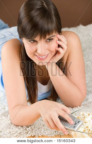 Woman Teenager Watch Television