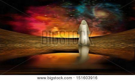 Figure under alien sky  3D Render