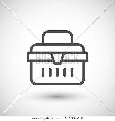 Toolbox line icon isolated on grey. Vector illustration