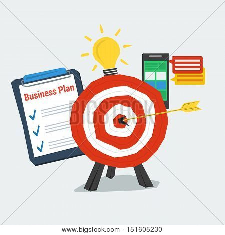 Vector Concept Successful Business Plannig. Target with arrow in center, tablet with the to-do list, lamp bulb and smart phone