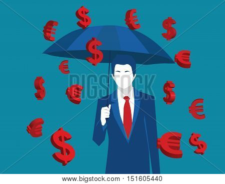 Business Man With Umbrella Under Euro And Dollar Signs Rain. Business Concept Illustration. Vector F