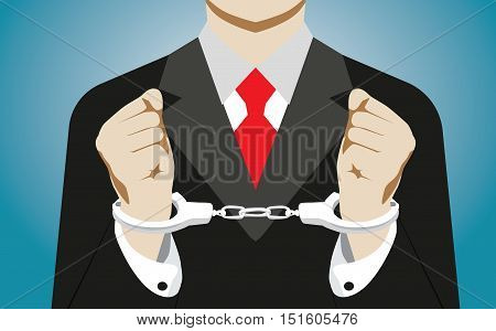 Businessman Handcuffed. Concept Business Illustration. Vector Flat