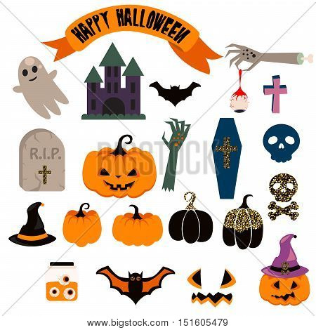 Halloween vector clipart set. Spooky pumpkin icons. Halloween scrapbook illustrations, headstone, coffin, castle, bat and zombie hand with eyes art.
