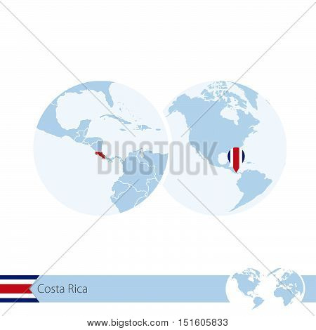 Costa Rica On World Globe With Flag And Regional Map Of Costa Rica.