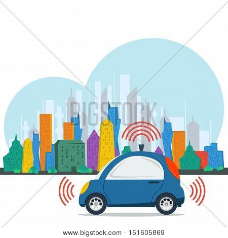 Vector self driving car on colored megalopolis city background. Blue small autonomous driverless vehicle. Future technologies in flat style
