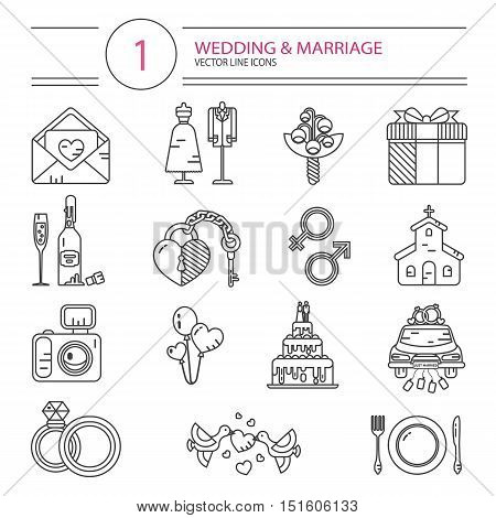 Vector modern line style icons set of wedding or marriage. Invitation, bridal bouquet, rings, champagne, bride and groom clothing, cake, gift box, lock and key, birds, car, food, church, camera.