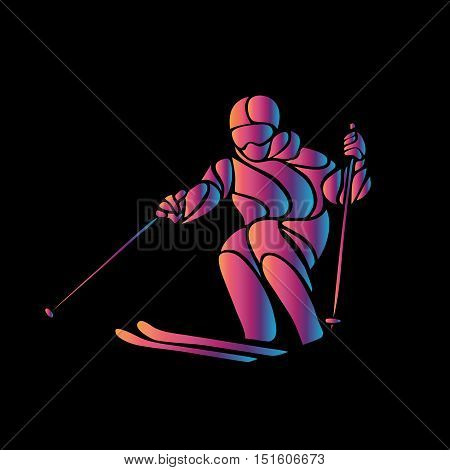 Giant Slalom Ski Racer Silhouette. Color Illustration