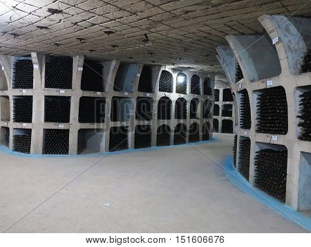 27.08.2016 Milestii Mici Moldova: Detail of the largest wine cellars in the world.
