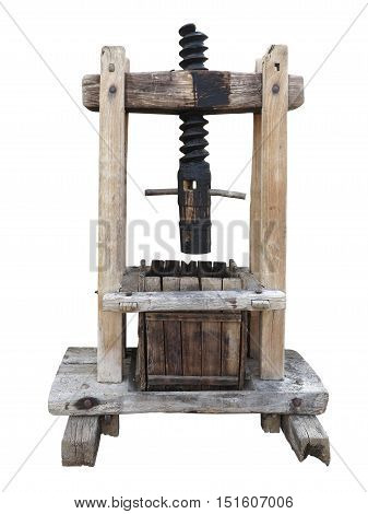 Ancient Wooden Wine Old Press Isolated On White