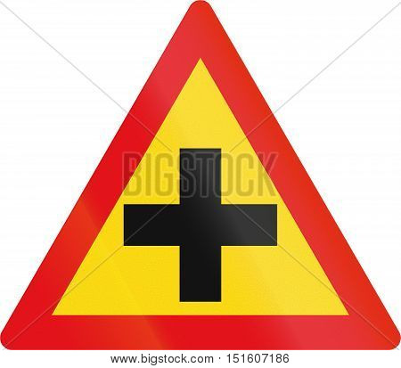 Temporary Road Sign Used In The African Country Of Botswana - Crossroad
