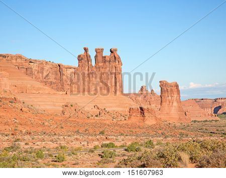 Rock formations in the Arches National park, Utah, USA