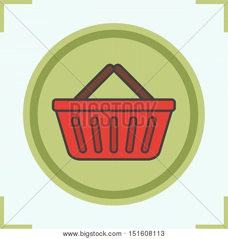 Supermarket basket color icon. Grocery store basket. Vector isolated illustration