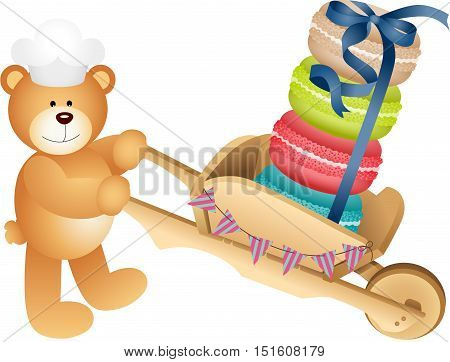 Scalable vectorial image representing a teddy bear carrying macaroons, isolated on white.