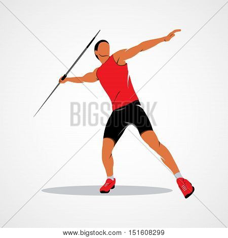 Javelin Thrower. Branding Identity Corporate logo design template Isolated on a white background. illustration.