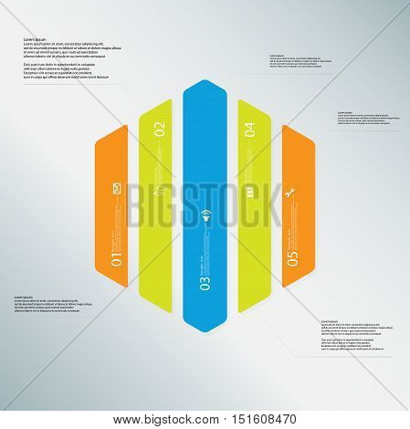 Hexagon Illustration Template Consists Of Five Color Parts On Light Blue Background