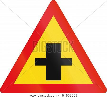 Temporary Road Sign Used In The African Country Of Botswana - Crossroad With Priority