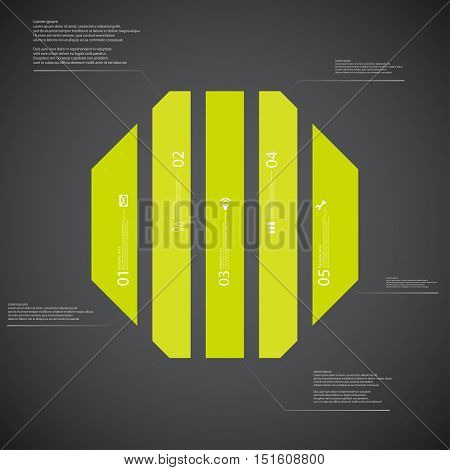 Octagon Illustration Template Consists Of Five Green Parts On Dark Background