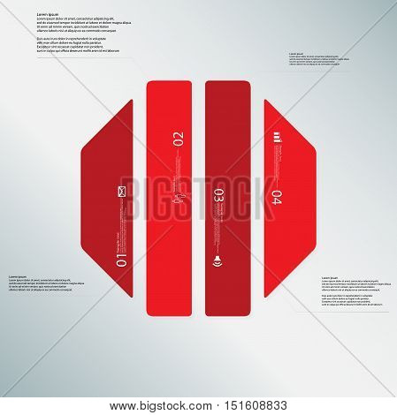 Octagon Illustration Template Consists Of Four Red Parts On Light Blue Background