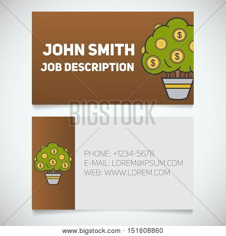 Business card print template with money tree logo. Easy edit. Businessman. Investor. Stationery design concept. Vector illustration