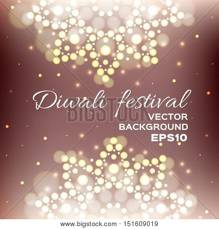 Vector illustration of Diwali festival. Indian Diwali festival background. Greeting card with beautiful lights. Bokeh background. EPS10